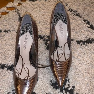 Sam & Libby Metallic Snakeskin Heels 9